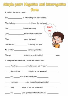 Interactive worksheet Simple Past negative and interrogative form