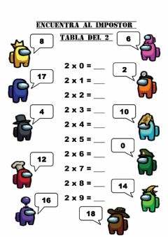 Interactive worksheet TABLA DEL 2. ENCUENTRA AL IMPOSTOR