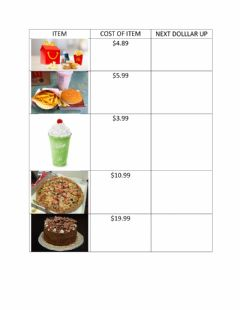 Interactive worksheet Next dollar amount up - fast food