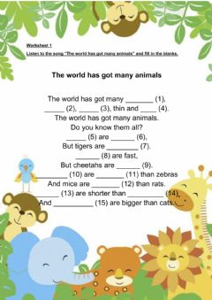 Interactive worksheet Module 10: The world around us (Comparative Adjectives)