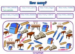 Interactive worksheet 2.4. Numbers - Classroom Objects & How Many?