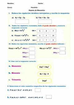 Interactive worksheet Repaso Monomios