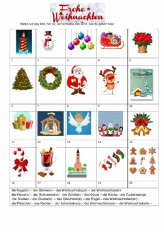 Interactive worksheet Frohe Weihnachten