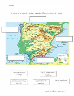 Interactive worksheet El relieve de España: las costas