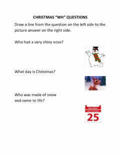 Interactive worksheet Christmas WH Questions