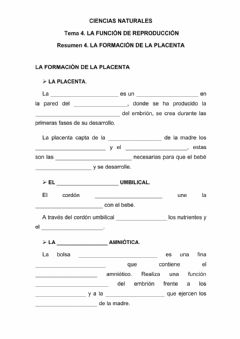 Interactive worksheet La formación de la placenta