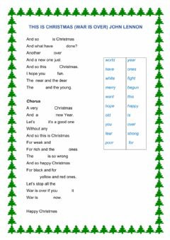 Interactive worksheet SO THIS IS CHRISTMAS-WAR IS OVER