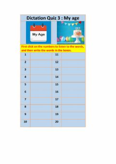 Interactive worksheet Dictation: My Age