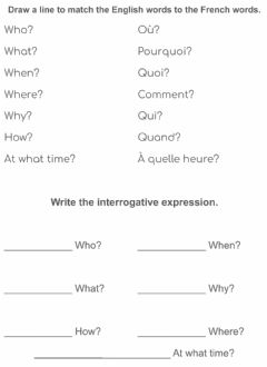 Interactive worksheet Les Expressions Interrogatives