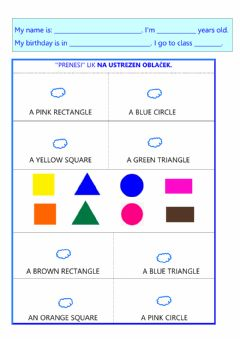 Interactive worksheet Revision- colours, shapes, months, sudoku