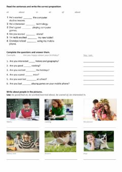 Ficha interactiva Adjectives and prepositions