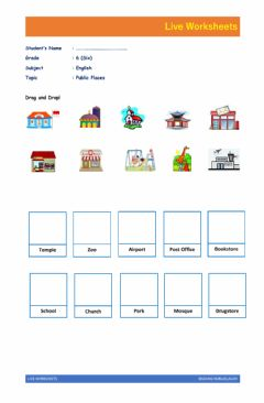 Interactive worksheet English Live Worksheet about Public Places