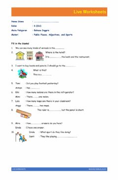 Interactive worksheet English Live Worksheet about Public Places, Adjectives, Sport