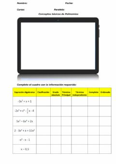 Interactive worksheet Polinomios