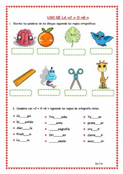 Interactive worksheet Uso de la «J » O «G »