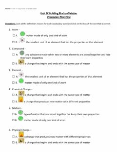 Interactive worksheet Building Blocks of Matter Vocabulary w visual supports