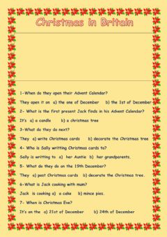 Interactive worksheet Christmas in Britain