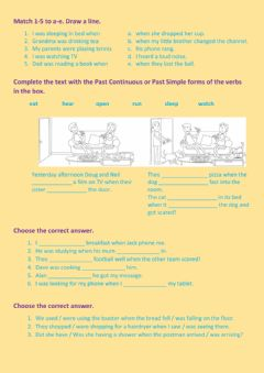 Interactive worksheet Past Simple & Continuous