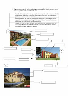 Interactive worksheet Partes da casa
