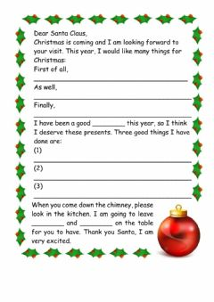 Interactive worksheet A letter to Santa Clause