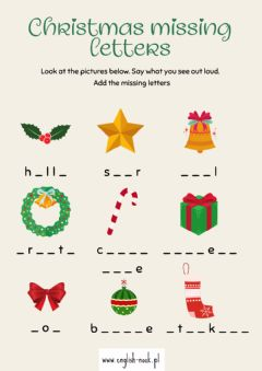 Interactive worksheet Christmas missing letters