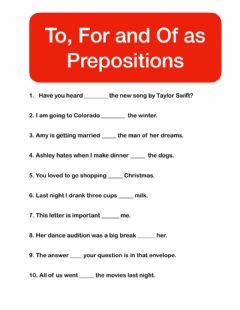 Ficha interactiva To, For, Of Prepositions