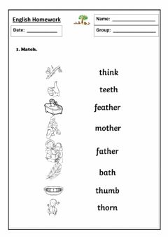 Interactive worksheet Lesson 31 - th sound