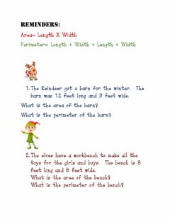 Ficha interactiva Christmas Area and Perimeter Word Problems
