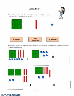 Interactive worksheet Sumas con reagrupación