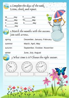 Interactive worksheet The days, the months