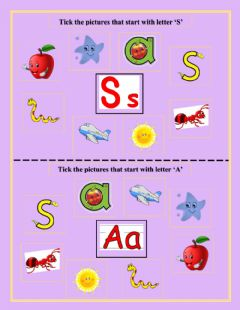 Interactive worksheet Tick the pictures that start with letter 'S' and 'A'