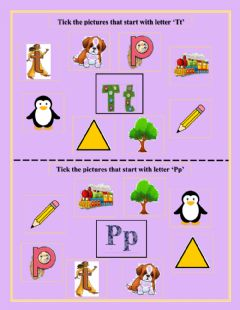 Interactive worksheet Tick the pictures that start with letter 'Tt' and 'Pp'