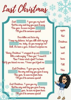 Interactive worksheet Last Christmas fill the gaps - drag