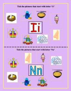 Interactive worksheet Tick the pictures that start with letter 'Ii' and 'Nn'