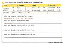 Ficha interactiva Year 4: The train time table
