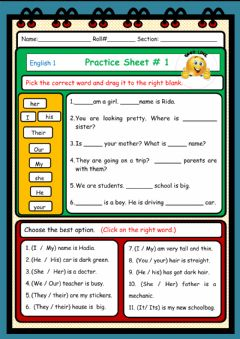 Interactive worksheet Pronuns and Possessive Adjectives