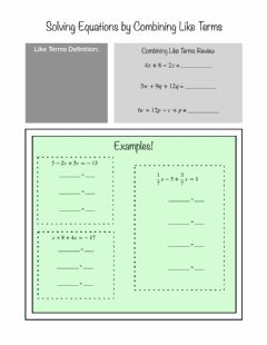 Interactive worksheet Solving Equations by Combining Like Terms Notes