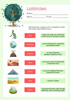 Interactive worksheet Montessori Lesson - Geography - Landforms