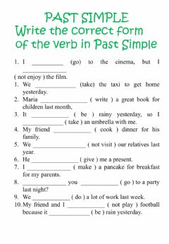 Interactive worksheet Past Simple verbs