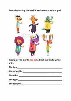 Interactive worksheet Have got with clothes