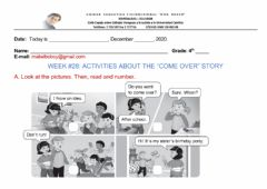 Ficha interactiva ACTIVITIES ABOUT THE STORY -COME OVER-