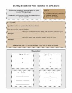 Interactive worksheet Solving Equations with the Variable on Both Sides