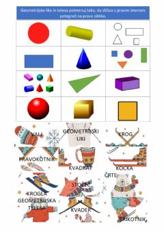 Interactive worksheet Geometrijski liki in telesa