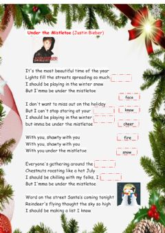 Interactive worksheet Under the mistletoe (Justin Bieber)