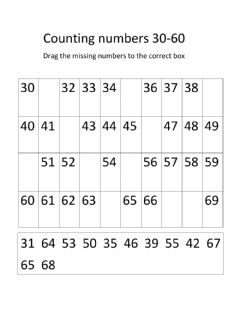Ficha interactiva Counting numbers 30-60