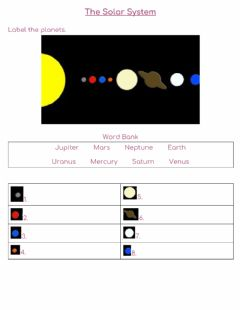 Interactive worksheet Position-Order of Planets