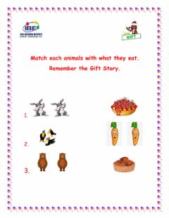 Interactive worksheet Match animals with they food.