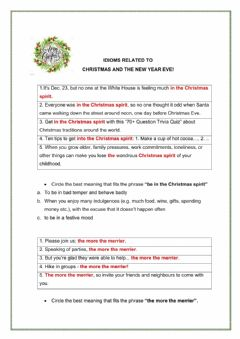Interactive worksheet Idioms related to Christmas and the New Year Eve