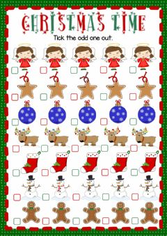 Ficha interactiva Christmas time - odd one out