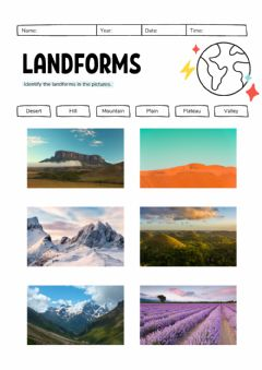 Interactive worksheet Montessori Lesson - Geography - Identifying Landforms Worksheet